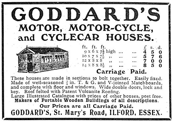Goddard's St Mary's Rd Ilford. Motor & Motor Cycle Sheds