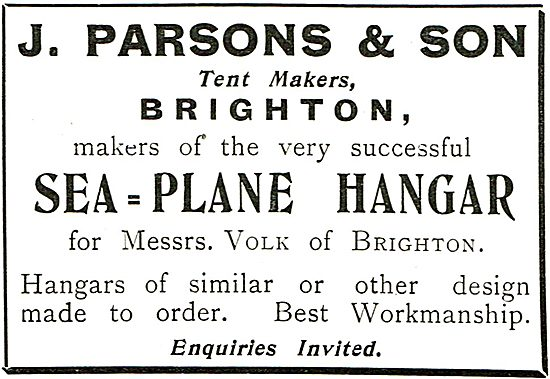J.Parsons & Son Tent Makers Brighton. Sea-Plane Hangars