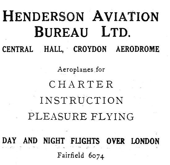 Henderson Aviation Bureau. Croydon. Charter, Training. 1931