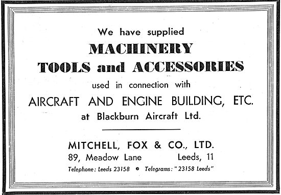 Mitchell Fox. Leeds. Machine Tools & Accessories 1939