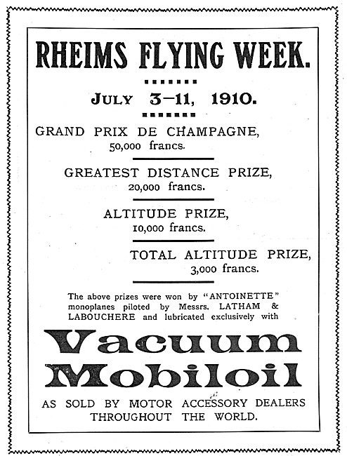 Mobiloil - Rheims Flying Week July 1910