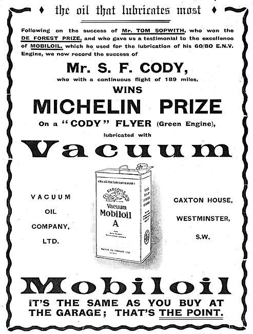 Cody Used Mobiloil In Michelin Prize Flight