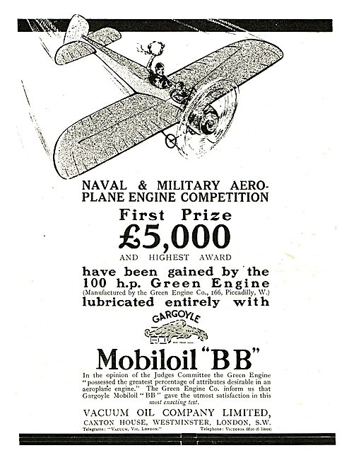 Mobiloil BB Used In The Naval & Miltary Prize Winning 100HP Green