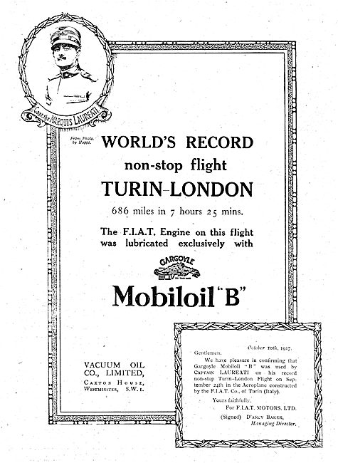 Fiat Used Mobiloil For Record Non-Stop Turin-London Flight