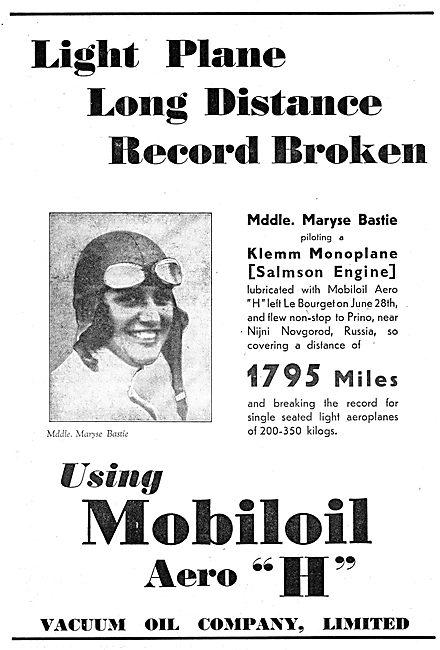 Mobiloil Aero 'H' - Maryse Bastie Klemm Distance Record