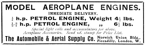 The Automobile & Aerial Supply Co - Model Aeroplane Engines