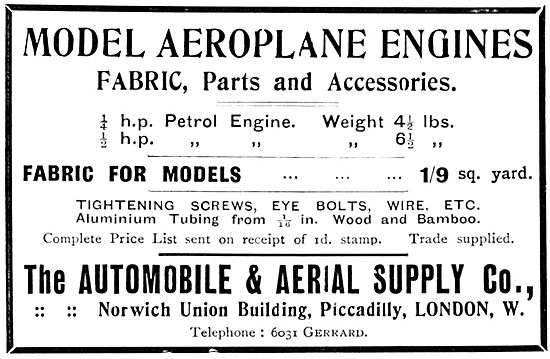 The Automobile & Aerial Supply Co - Aeroplane Model Parts