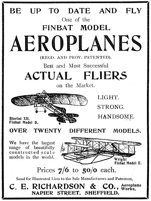 C.E.Richardson & Co. Napier Street, Sheffield. Aircraft Models