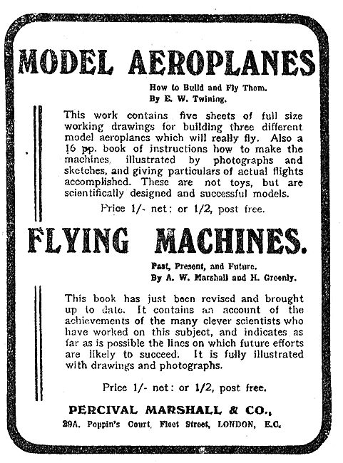 Percival Marshall & Co Model Aroplane & Flying Machine Plans