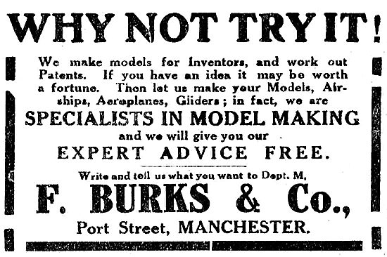 F.Burks & Co Specialists In Aeroplane Model Making