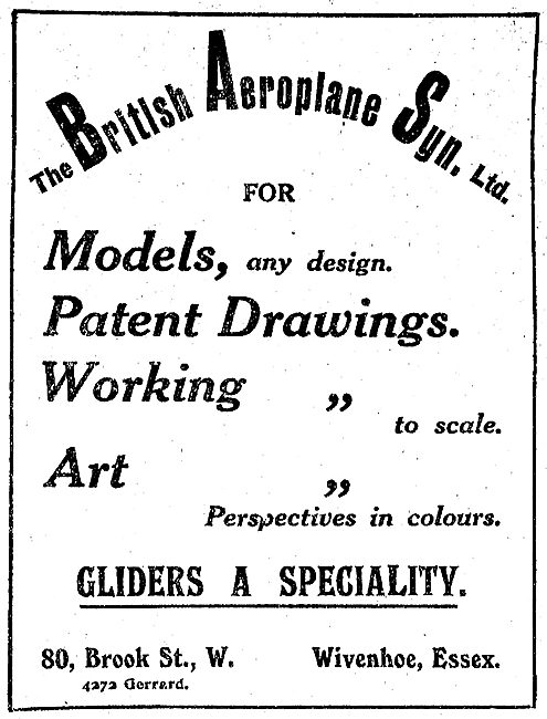 The British Aeroplane Synd - Models Made - Gliders A Speciality