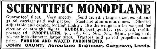 John Gaunt Aeroplane Engineer Offers The Scientific Monoplane