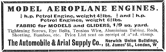 The Automobile & Arial Supply Co For Model Aeroplane Engines