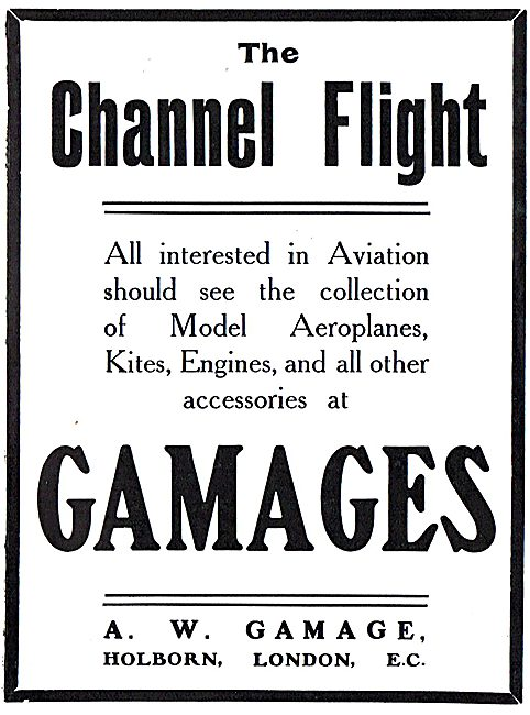 The Channel Flight. See Aeroplane Models At Gamages Holborn