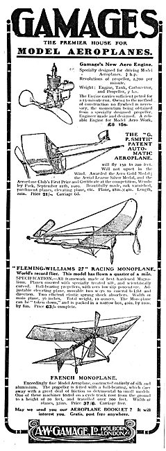 Gamages Model Aeroplanes: G.Smith Automatic Aeroplane
