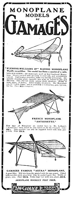 Gamages Aeroplane Models. Fleming-Williams 27