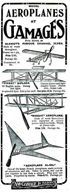 Buy A Model Of Bleriot's Famous Channel Flyer At Gamages 7/11.