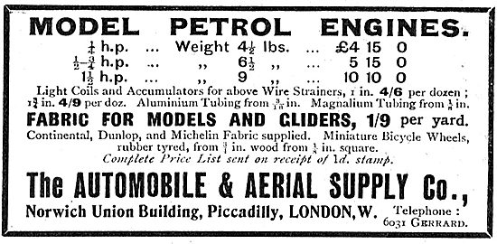 The Automobile & Aerial Supply Co - Model Engines & Accessories