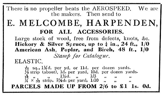 E.Melcombe. Harpenden. Model Aircraft Propellers & Accessories