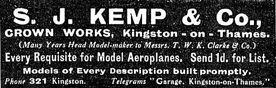S.J.Kemp & Co Crown Works Kingston-On-Thames Model Aeroplanes