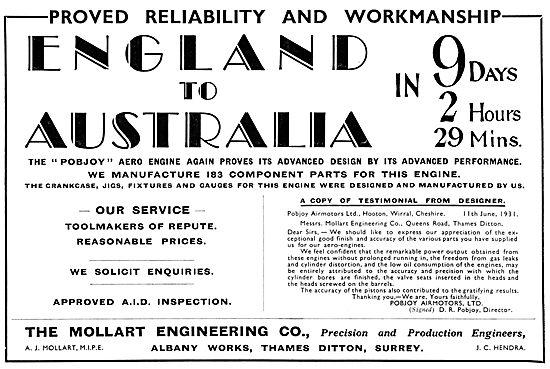 Mollart Aeronautical Engineering & Toolmakers 1931