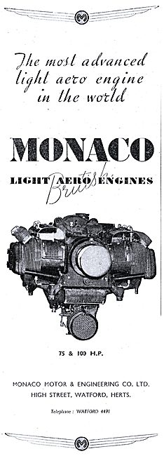 Monaco Light Aero Engines 75 & 100 HP  - Watford