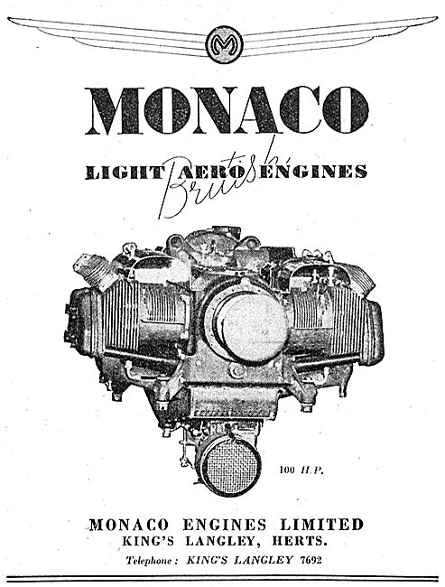 Monaco 100 HP Light Aero Engines
