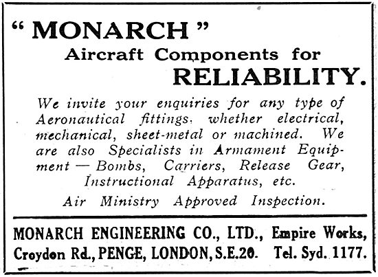 Monarch Engineering Croydon. Aircraft Components Constructed