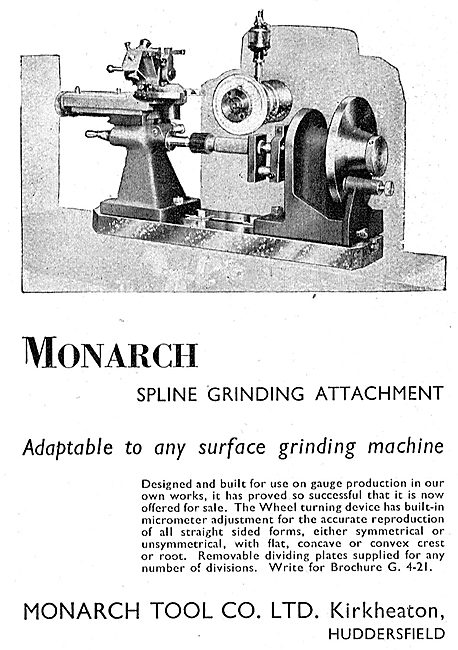 Monarch Tool Company Spline Grinding Attcahment 1942 Advert