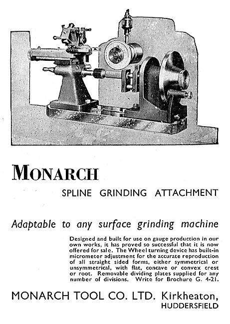 Monarch Tool Company. Mavhine Tools. Spline Grinding Attachment