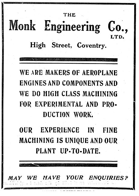 Monk Engineering Coventry  Aero Engine Manufacturers