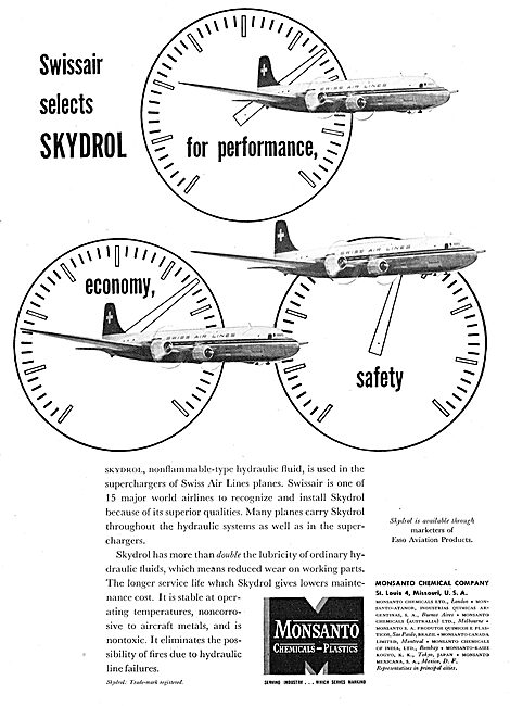 Monsanto Skydrol Fire Resistant Hydraulic Fluids For Aircraft