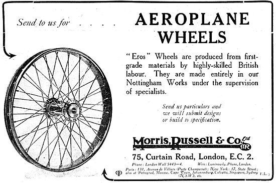 Morris,Russell & Co - EROS Aeroplane Wheels. 1917 Advert