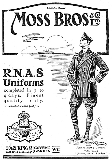 Moss Bros RNAS Uniforms 1916