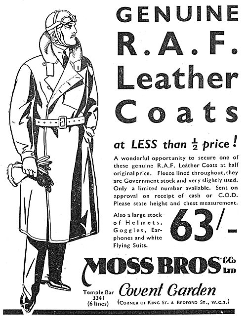 Moss Bros Genuine RAF Leather Flying Coats