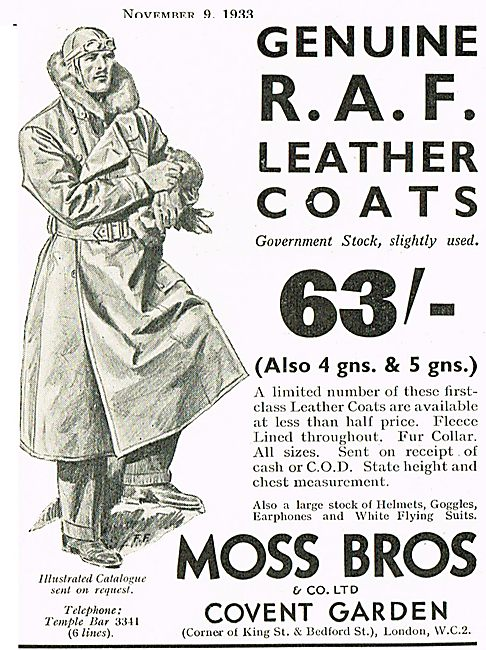 Moss Bros RAF Leather Flying Coats