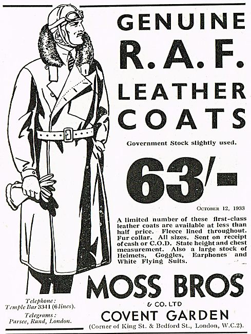 Moss Bros RAF Leather Flying Coats 63/-