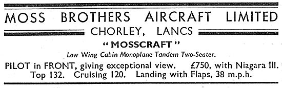 Moss Brothers Chorley Lancs. Mosscraft Cabin Monoplane