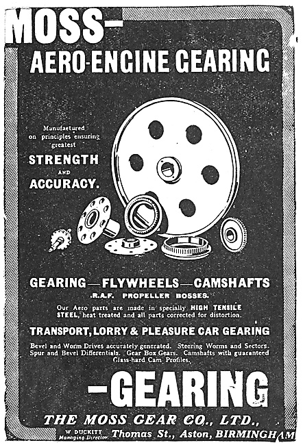 Moss Aero Engine Gearing - Aston Birmingham 1918