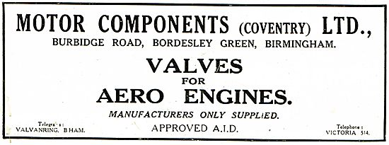 Motor Components Coventry - AID Approved Valves For Aero Engines