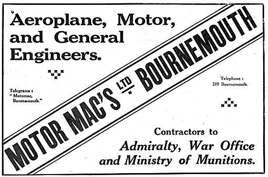 Motor Mac's Ltd. Bournemouth.  Aeronautical Engineers