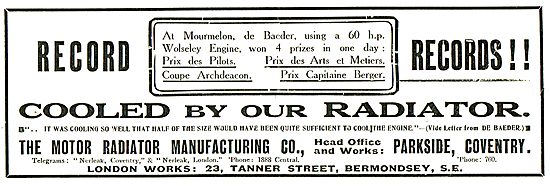 The Motor Radiator Manufacturing Co Record Breaking Radiators