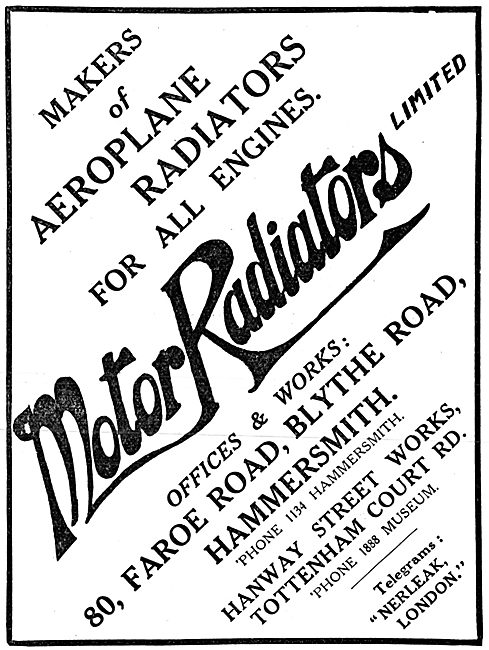 Motor Radiators Ltd. Engine Radiatiors 1915