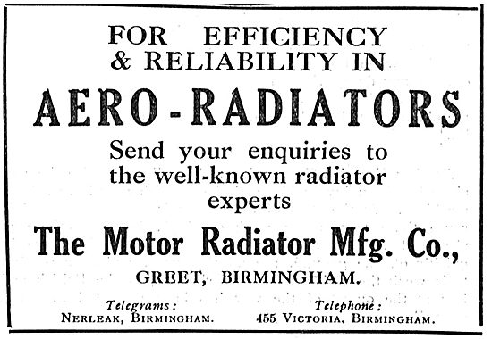 Motor Radiator  Mfg Co For Aero Engine Radiators