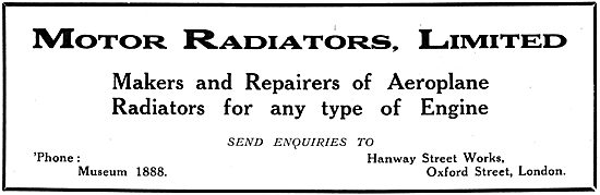 Motor Radiators Ltd. Aero Engine Radiators 1916