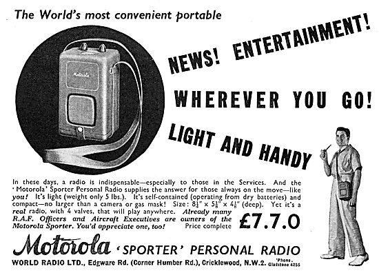 World Radio Ltd. Motorola Sportser Portable Radio 1939