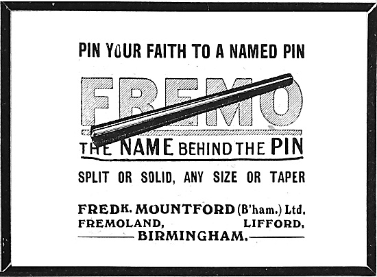 Fredk Mountford Fremo Taper Pins 1918