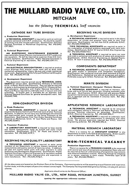 Mullard Aeronautical Electronics Radio & Radar Devices