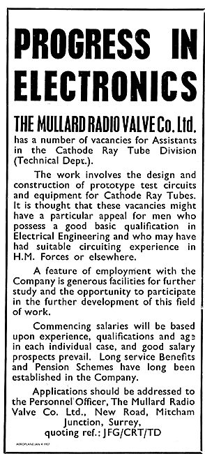 Mullard Radio Valve Co Require Technical Assistants