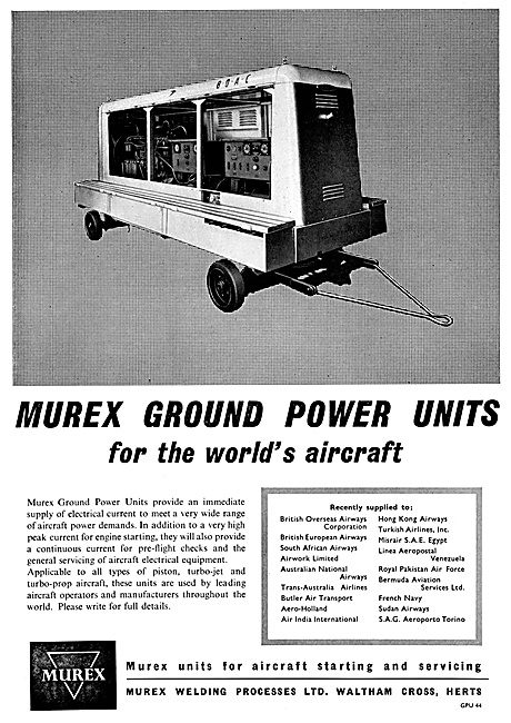 Murex Aircraft Ground Power Units GPU 1959